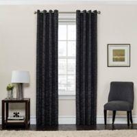 SolarShield® Sycamore 108-Inch Grommet Top Room Darkening Window Curtain Panel in Black
