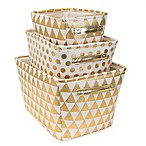 Closet Complete 3-Piece Metallic Polka Dot/Triangle Storage Set in Gold