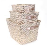 Closet Complete 3-Piece Metallic Trellis Storage Set in Rose Gold