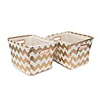 Closet Complete 2-Piece Chevron Tote Canvas Set in Metallic Rose Gold