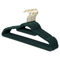 Real Simple® 12-Count Flocked Suit Hangers in Green with Gold Hook