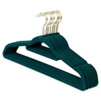 Real Simple® 12-Count Flocked Suit Hangers in Teal with Gold Hook