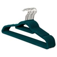Real Simple® 12-Count Flocked Suit Hangers In Teal with Chrome Hook