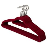 Real Simple® 12-Count Flocked Suit Hangers In Burgundy with Chrome Hook