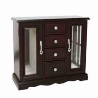 Classic 4 Drawer/2 Cabinet Jewelry Box in Dark Cherry
