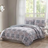 Palazzo Reversible King Quilt Set in Grey/Taupe
