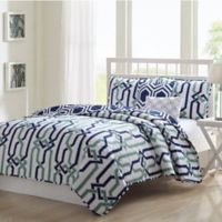 Bavaria Reversible Full/Queen Quilt Set in Navy