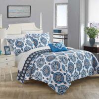 Chic Home Breda 4-Piece Reversible Queen Quilt Set in Blue