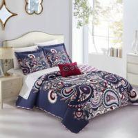 Chic Home Taji 4-Piece Reversible Queen Quilt Set in Blue