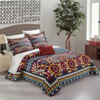 Chic Home Akeno 4-Piece Reversible Queen Quilt Set in Red