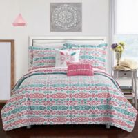 Chic Home Kane 4-Piece Reversible Twin Quilt Set in Aqua