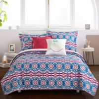 Chic Home Maiya 4-Piece Reversible Twin Quilt Set in Fuchsia