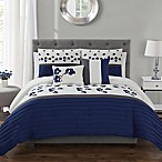 Rosewood 5-Piece Full/Queen Comforter Set in Navy/White