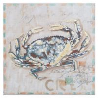 Friendly Crab 19.7-Inch Square Canvas Wall Art
