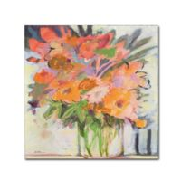 Sheila Golden Orange Bouquet 18-Inch Square Canvas Wall Art