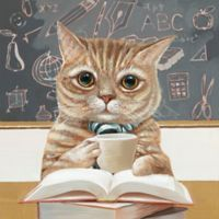 Moe's Home Collection School Cat Canvas Wall Art