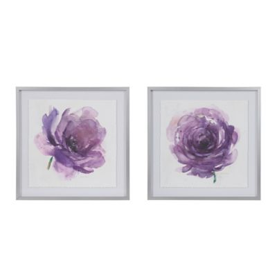 Madison Park® Signature Purple Ladies Rose Framed Wall Art (Set Of 2)