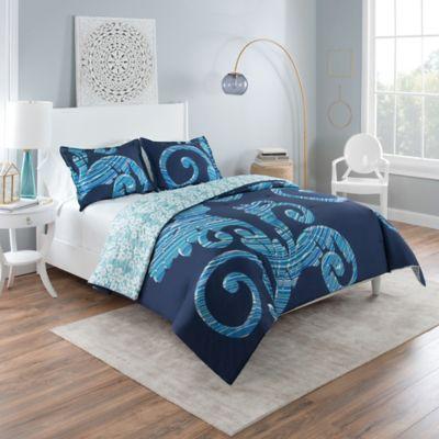 Vue® Zendaya Reversible King Comforter Set In Blue