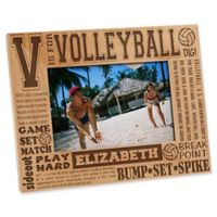 """V is for Volleyball"" 4-Inch x 6-Inch Picture Frame"