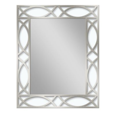 metal 24inch x 30inch scroll framed mirror in brushed nickel