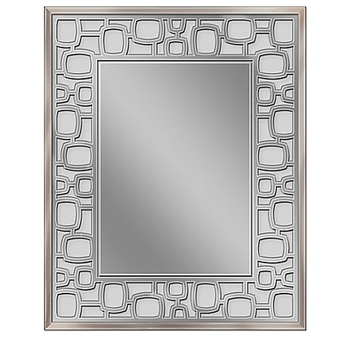 framed bathroom mirrors brushed nickel etched oblong circle wall mirror in brushed nickel bed 23198