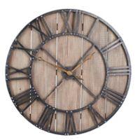 Household Essentials® Roman Numerals Vintage Barnwood Wall Clock