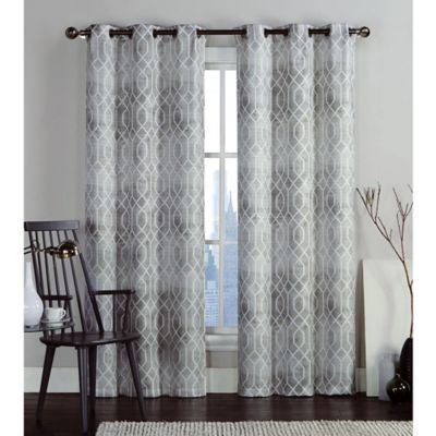 VCNY Home Andreas Printed Saxton 96 Inch Grommet Top Window Curtain Panel Pair In Taupe