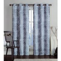 VCNY Home Andreas Printed Saxton 84-Inch Grommet Top Window Curtain Panel Pair in Grey