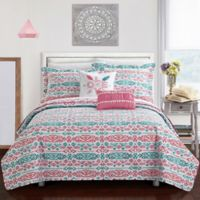 Chic Home Kane 7-Piece Reversible Twin Quilt Set in Aqua
