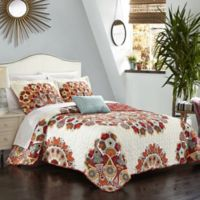 Chic Home Demesne 8-Piece Reversible Queen Quilt Set in Red