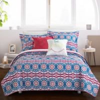 Chic Home Maiya 7-Piece Reversible Twin Quilt Set in Fuchsia