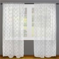 Design Imports Lace 96-Inch Rod Pocket Window Curtain Panel Pair in White