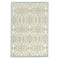 Feizy Soho-Mah Wrought Iron 5-Foot 3-Inch x 7-Foot 6-Inch Area Rug in Cream/Light Blue