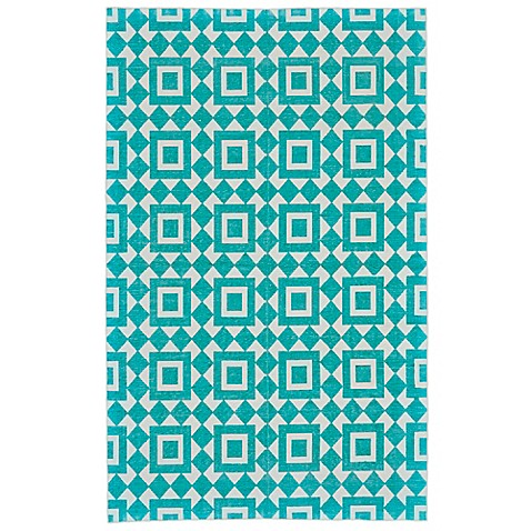 image of Feizy Harrison Granada Diamond Rug in Turquoise