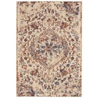 Feizy Zenith Antique Medallion 5-Foot x 8-Foot Area Rug in White/Silver
