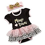 Baby Aspen® Size 0-6M My First Fashionista 2-Piece Tutu Bodysuit and Headband Set in Black/Pink