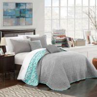 Chic Home Nalla Reversible Queen Quilt Set in Grey