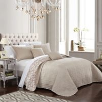 Chic Home Nalla Reversible King Quilt Set in Beige