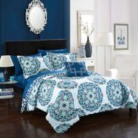 Chic Home Mirador 4-Piece Reversible Full/Queen Quilt Set in Blue