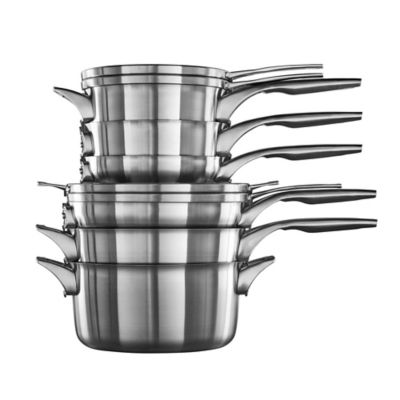 Calphalon® Premier™ Space Saving Stainless Steel 10-Piece Cookware Set and Open Stock