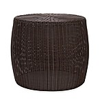 Household Essentials® 13.75-Inch Round All-Weather Wicker Table in Brown