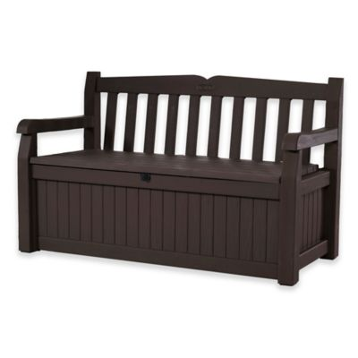 Keter Eden All Weather Garden Bench Deck Box In Brown