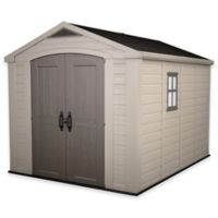 Keter Factor Large 8-Foot x 11-Foot Resin Outdoor Storage Shed in Taupe/Beige