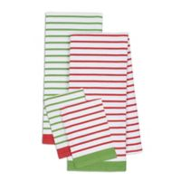 Design Imports 4-Piece Christmas Candy Stripe Kitchen Towel and Dish Cloth Set