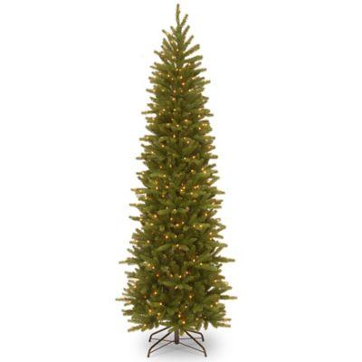 National Tree Company 6.5u0027 Grand Fir Pencil Slim Pre Lit Christmas Tree  With Clear