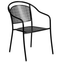 Flash Furniture All-Weather Arm Chair with Round Back in Black