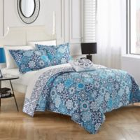 Chic Home Eindhoven Reversible King Quilt Set in Blue