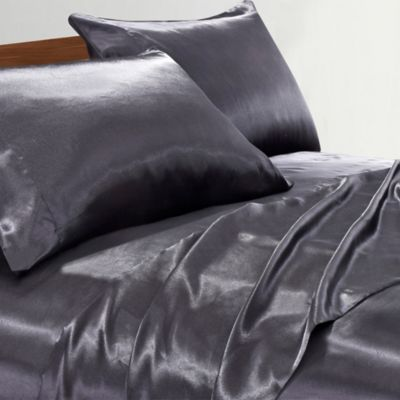 Satin Radiance 230 Thread Count California King Sheet Set In Black