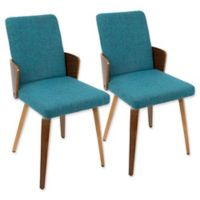 LumiSource Carmella Dining Chairs in Walnut/Teal (Set of 2)