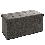 Seville Classics Foldable Storage Bench/Ottoman in Charcoal